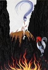 """Original VINTAGE erte Art Deco Print """"francese Rooster"""" BOOK PIASTRA"""