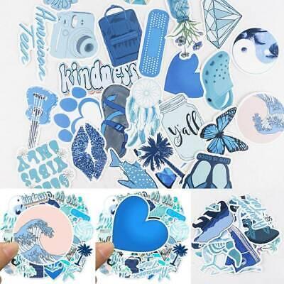 50PCS Skateboard Blue Stickers Vinyl Laptop Luggage Decals Girls Sticker Decor