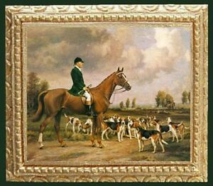 FOX HUNT Dollhouse Picture - Framed Miniature Art - MADE IN AMERICA