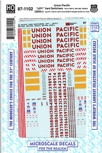 HO Scale Microscale 87-905 Union Pacific UP Decal Set