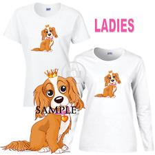 Cavalier King Charles Spaniel Princess Ladies Short Long Sleeve White T Shirt