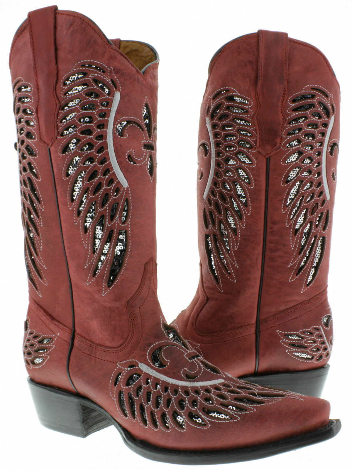 Para mujeres Vestido de lentejuelas De rojo flor Incrustación Plata Cuero botas De lentejuelas Vaquero SNIP Toe 1d7ff0