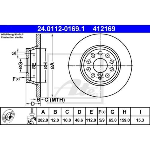 24.0112-0169.1 1 Disque de frein frein à disque UAT