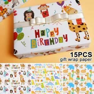 15x-droles-bebe-enfants-anniversaire-cadeau-de-Noel-papier-enveloppant-feuilles