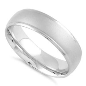 925-Sterling-Silver-Brushed-WEDDING-Band-Ring-Gift-Boxed-Womans-Mens