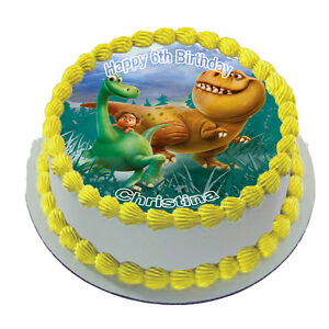 THE GOOD DINOSAUR REAL EDIBLE ICING ROUND CAKE TOPPER PARTY IMAGE