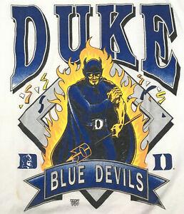 Vtg 90s Duke Mens T Shirt Blue Devils Spell Out Logo Flames Fire Basketball Usa Ebay