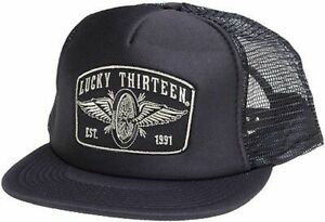 Lucky 13 Speedster Winged Wheel Tattoo Skull Goth Foam Mesh Trucker Hat Cap