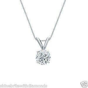 1-Ct-Round-Brilliant-Cut-Solid-14k-White-Gold-Solitaire-Pendant-18-034-Necklace