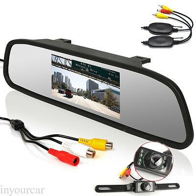"Wireless 4.3"" TFT LCD Monitor+License Plate IR Night Backup Rear View Camera"