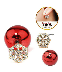 1cdf882c2 SNOWFLAKE Front & Back Double Sided Clear Crystals Red Ball Earrings ...