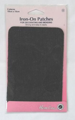 Hemline Iron On Mending Patches ~ Cotton Drill ~ 2 Pieces each 10cm x 15cm