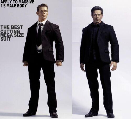 """1//6 Costume Set Avec Extra chemise noire pour 12/"""" male figure BD001 JX01 AT011"""