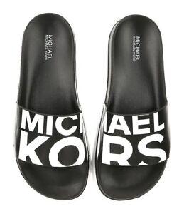 Nib Michael Kors Tyra Slides Black White Mk Logo Women S Size 10 Ebay