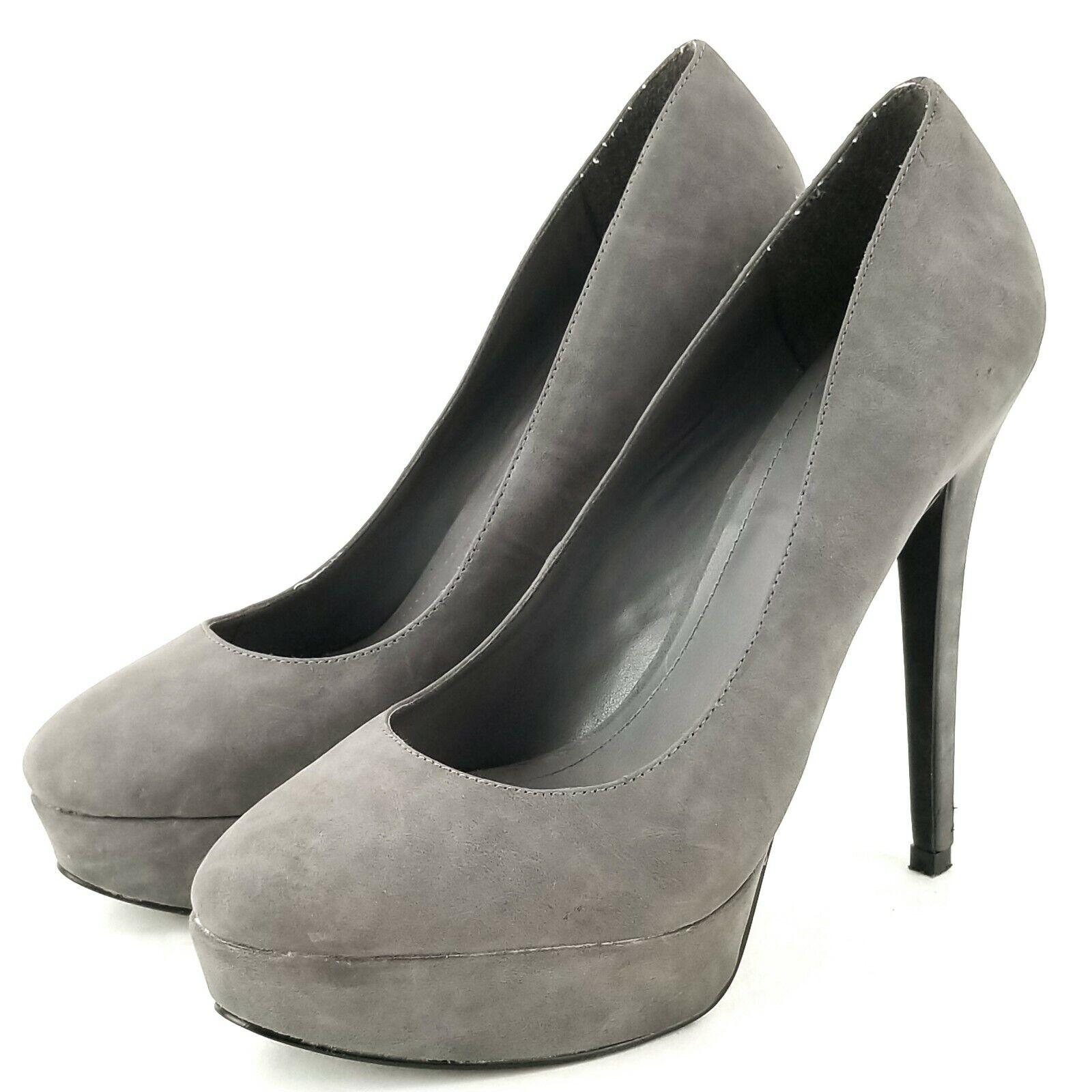 Aldo Stiletto Heels Womens Gray Suede Leather Pumps Platform EU 39 / US 8.5