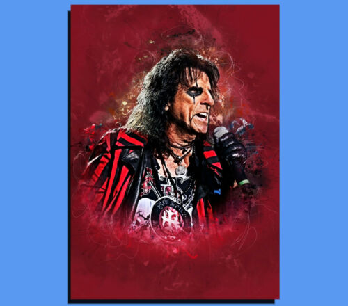 Grunge Art Various Sizes Ready To Hang Box Canvas: Alice Cooper