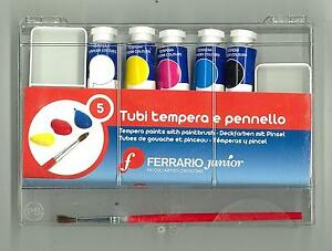 05-CONFEZIONE-DA-05-TUBI-TEMPERA-E-PENNELLO-FERRARIO-JUNIOR-MADE-IN-ITALY