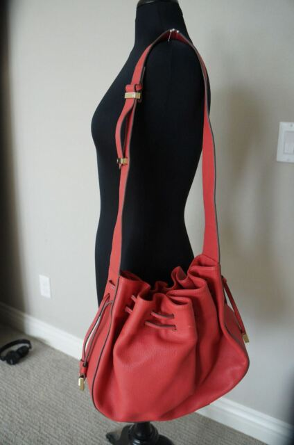 NEW Halston Heritage Bianca Large Coral SOFT Leather Bucket Bag RP ... a627bd58ae86a