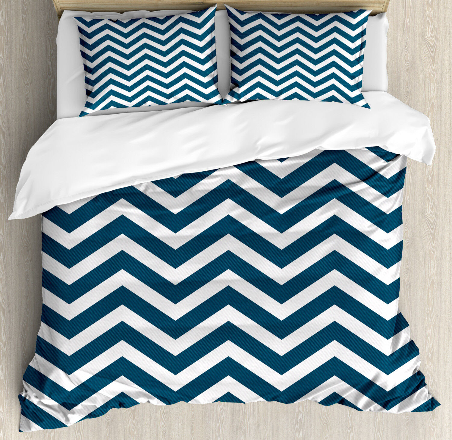 Navy Duvet Cover Set with Pillow Shams Zigzag Chevron blueeee Lines Print