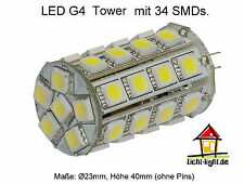 LED Stiftsockellampe 34 LEDs Tower-Form - 12V DC G4 440 Lumen warmweiß dimmbar