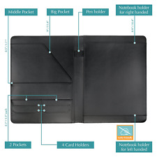 Wundermax Padfolio Portfolio Vegan Leather Binder Business Folder Resume With