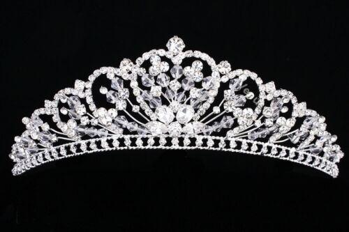 Handmade Bridal Heart Rhinestones Crystal Floral Prom Wedding Crown Tiara 89110