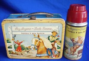 VINTAGE ROY ROGERS DALE EVANS DOUBLE R BAR RANCH METAL LUNCH BOX +THERMOS COWBOY