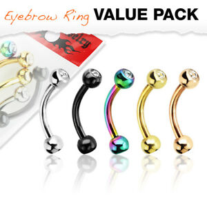 4 Pc CZ Internal Threaded Curve Barbells Eyebrow Ring Piercing Body Jewelry