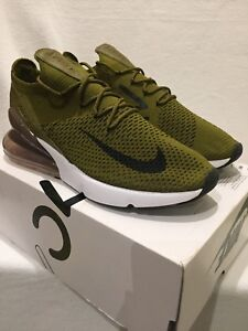 Nike Air Max 270 Flyknit green Olive Mens Trainers Uk Size 9 - Brand ... 7e649e636