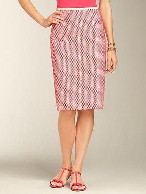 NEW $99 TALBOTS Pink, Ivory Starfish Eyelet Cotton Straight Skirt Sz 10