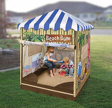 Sandbox With Canopy Children Kids Outdoor Sand Pit Backyard Covered Playhouse