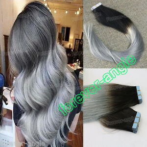 Ombre Dip Dye Pu Tape In Weft Brazilian Remy Human Hair Extensions