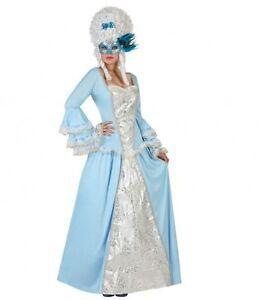 SûR Déguisement Femme Marquise Bleu M/l 40/42 Princesse Courtisane Neuf Pas Cher