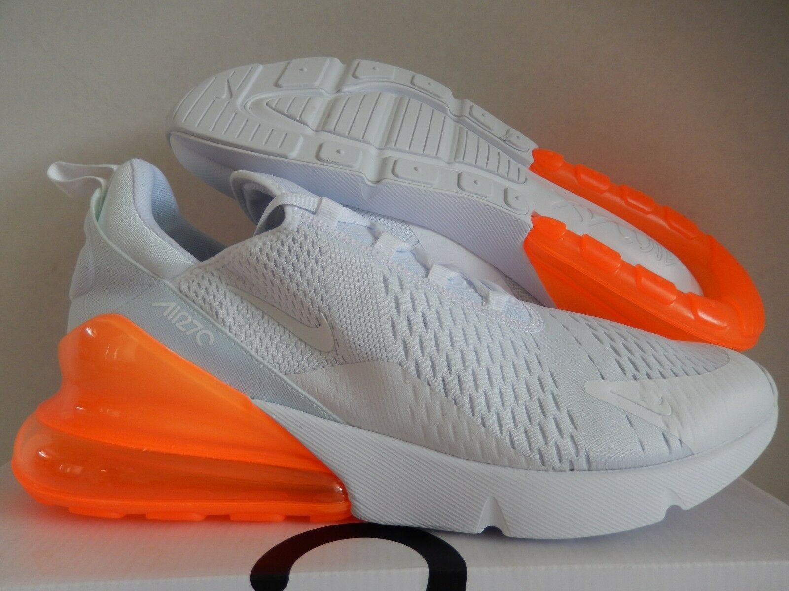 NIKE AIR MAX 270 Blanc-Blanc-TOTAL ORANGE SZ 15 [AH8050-102]