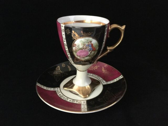 Royal Vienna Style Footed Tea Cup & Saucer.                               #208