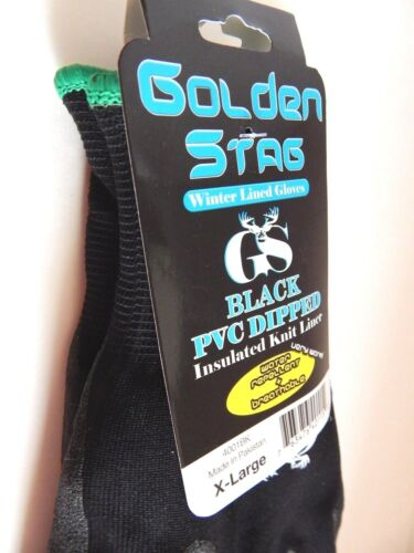 Golden Stag Winter Lined Black PVC Dipped Gloves