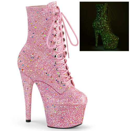 "Details about  /PPLEASER ADORE-1020GDLG 7/"" Heel Platform Pink Glitter UV Reactive Ankle Boots"
