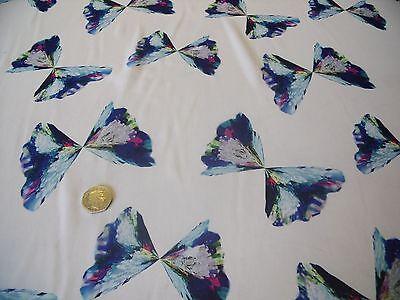 CHIFFON BUTTERFLY PRINT -IVORY/BLUE/PURPLE-DRESS FABRIC-FREE P&P