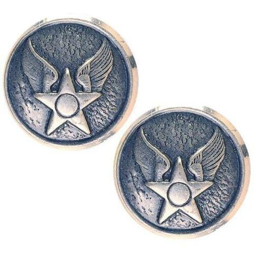 USAF Air Force Buttons WAF Hap Arnold  20 ligne silver ox Made in USA 1 Pair