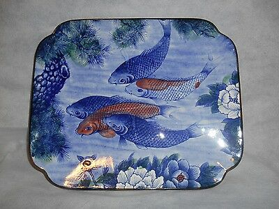 Vintage Koi Fishs Hand Painted 13 x 10 3/4 Serving Plate Dish Made in Japan Toyo