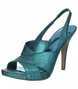 Nine-West-Womens-Size-7-M-Green-Ripper-Sandals-Slingback-High-Heels-Stiletto