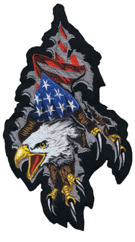 """#LT30087 Lethal Threat Embroidered Patch/""""Eagle Shred/"""" Stars And Stripes Eagle"""