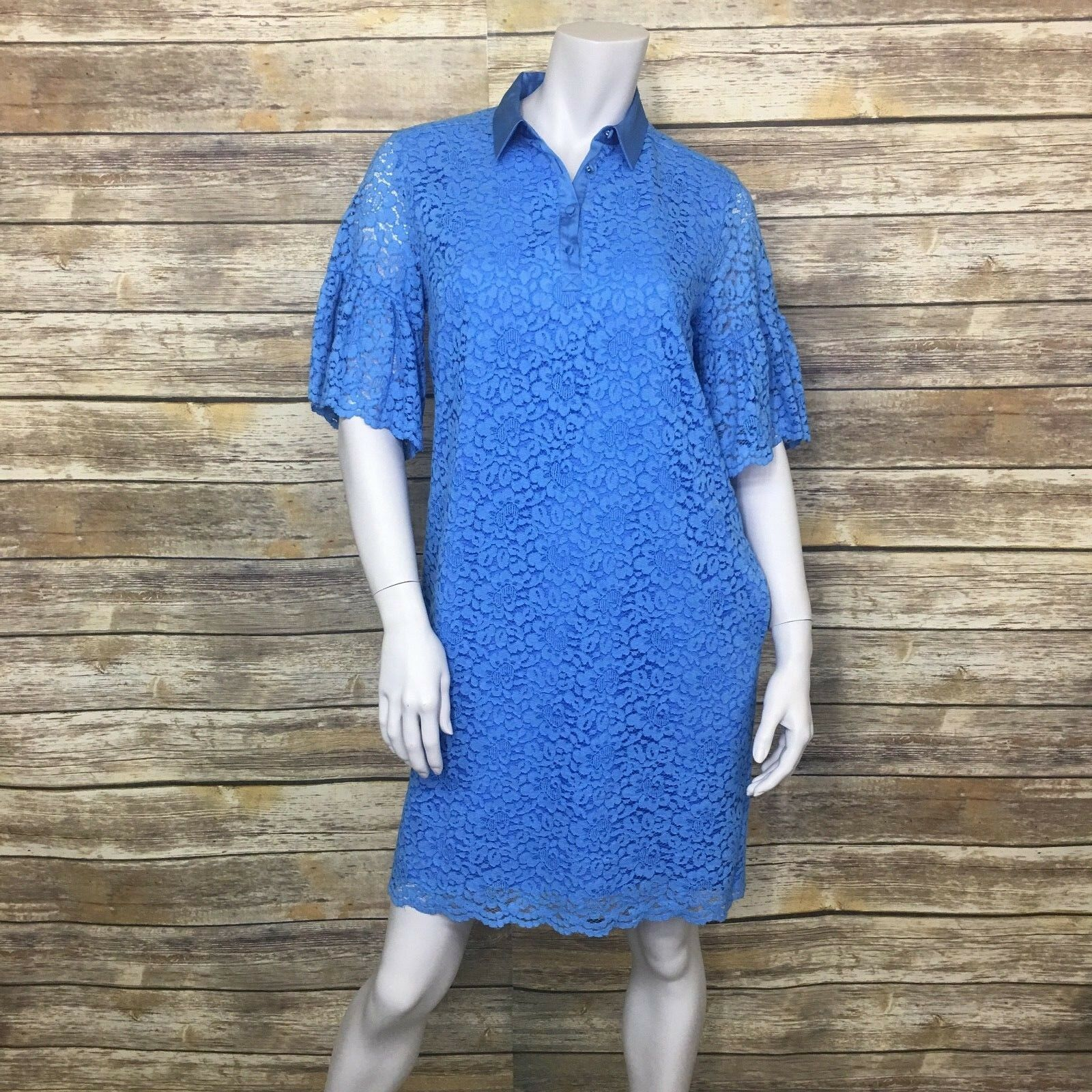 f15d5001199 ... NWT BANANA REPUBLIC Size Small Floral Lace 3 4 4 4 Bell Sleeve Shift  Polo Dress ...