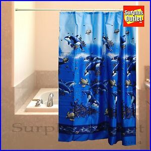 orca fabric shower curtain 100 polyester standard size ebay. Black Bedroom Furniture Sets. Home Design Ideas