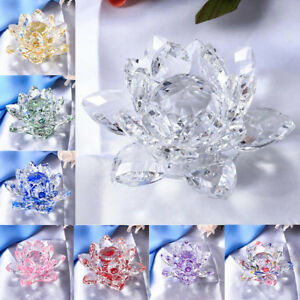 Bling Crystal Lotus Flower Model Figure Glass Craft Home Tabletop Decoration