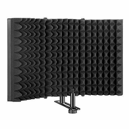 Agptek Microphone Isolation Shield Folding Tri-Fold Studio Sound Absorbing Foam
