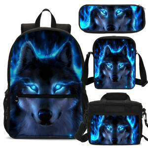 S/3 Cool Blue Wolf Boy School Backpack Insulated Lunch Bag