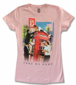 Details about One Direction Take Me Home Girls Juniors Pink T Shirt New  Official Band Merch 1D