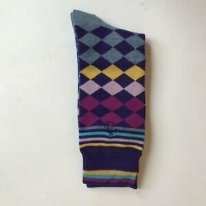 ORIGINAL-PENGUIN-Men-039-s-Socks-Gold-Multicolor-Diamonds-One-Size-Fits-Most-NEW