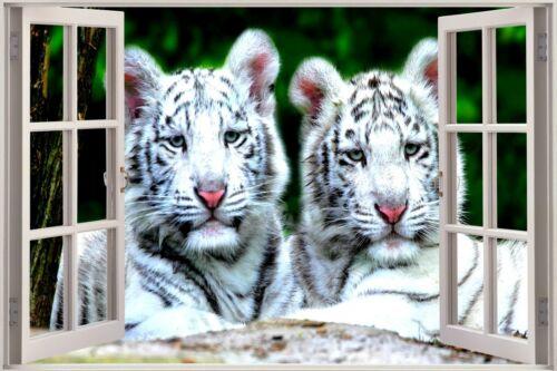 3D Effect Window View White Tiger Cubs Sticker Wall Poster Vinyl GA1-298